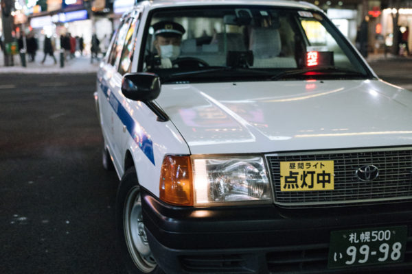 taxi cab downtown sapporo japan